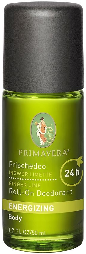 Primavera Natural Roll on Deodorant is an energising paraben free natural roll-on deodorant with Ginger and Lime. Refresh and revitalise the mind and body. Get 24 hour protection from body odour with Primavera Natural Roll-On Deodorant Ginger and Lime. NATRUE Certified. Made with Organic Ingredients. Vegan.