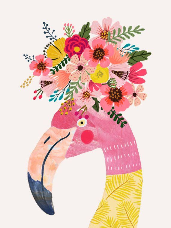 Flamingo With Flowers On Head Poster Flower On Head Art Prints Pink Flamingos