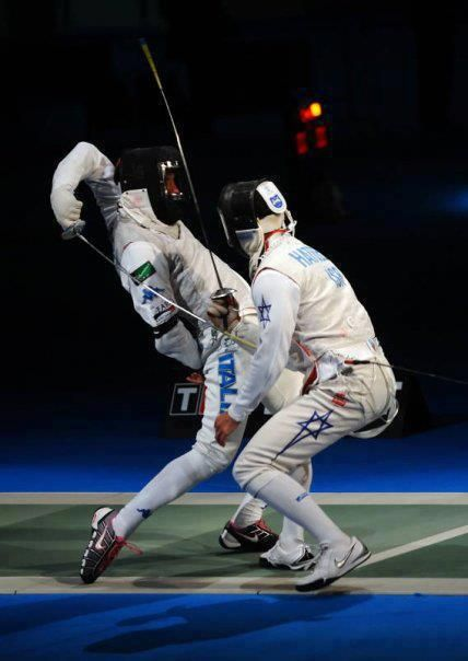Foil #fencing action at the 2012 Olympics
