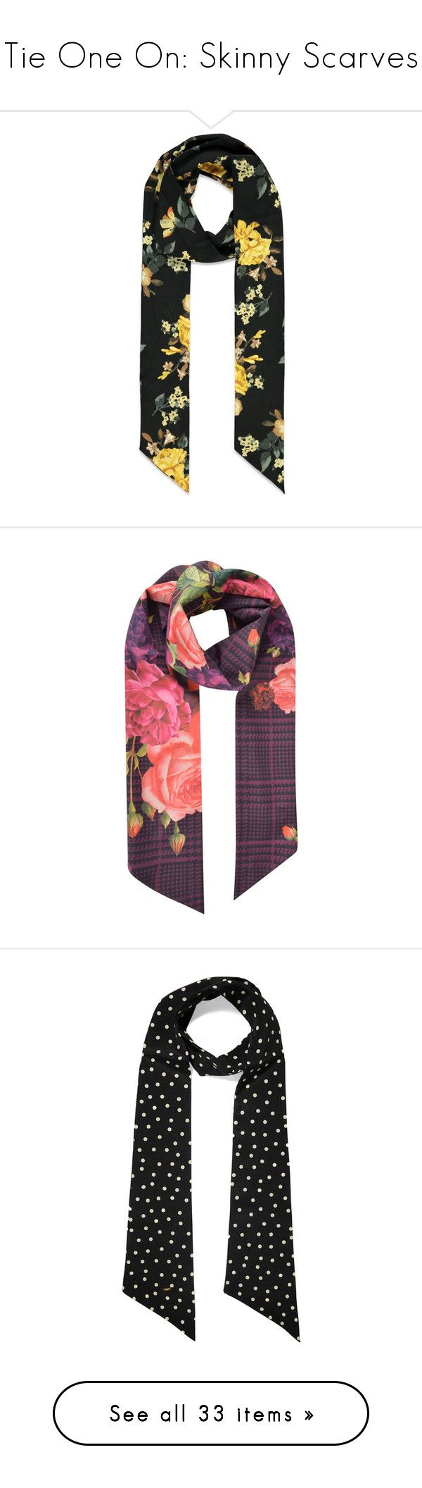 """""""Tie One On: Skinny Scarves"""" by polyvore-editorial ❤ liked on Polyvore featuring skinnyscarves, accessories, scarves, woven scarves, floral scarves, floral shawl, floral print scarves, long scarves, houndstooth shawl and houndstooth scarves"""