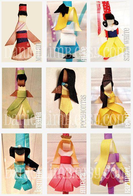 OH MY GOSH! DISNEY HEADBANDS!!!! ribbon sculpture disney inspired princess clips or by daniellimb, $18.00