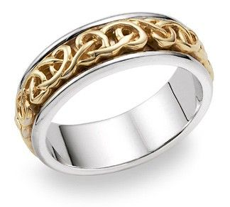 Nozze di platino e oro 18k anello celtico anello di nozze spirito