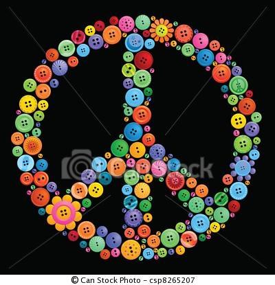 button peace sign art