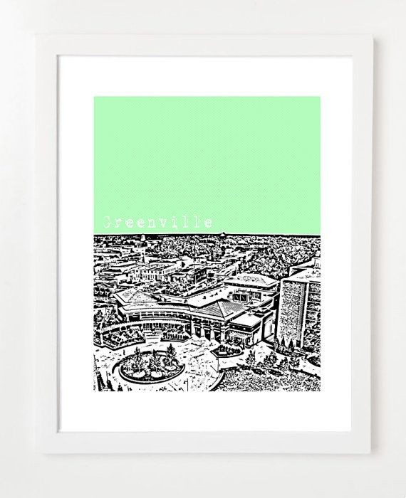 Greenville North Carolina Skyline Poster - Greenville, NC Art Print