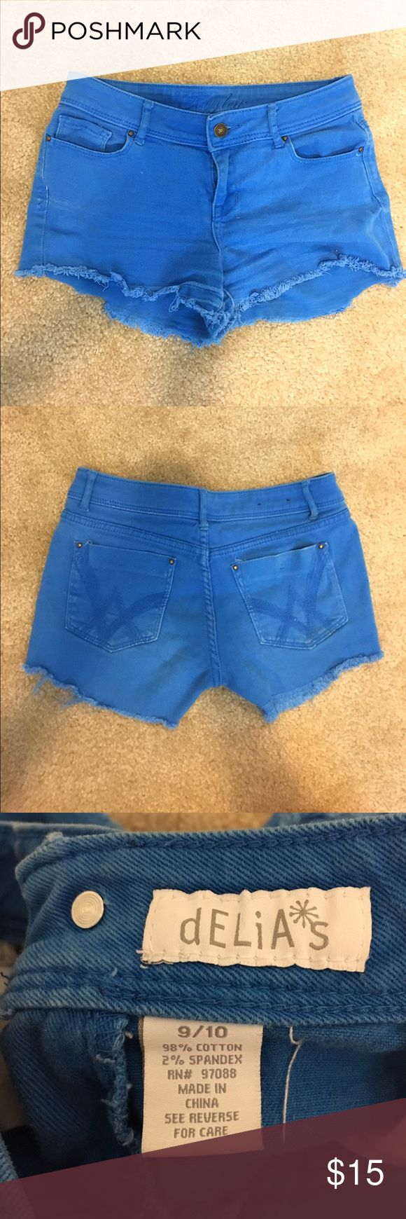 Bright Blue Jean Shorts slightly worn, In good condition!! Shorts Jean Shorts