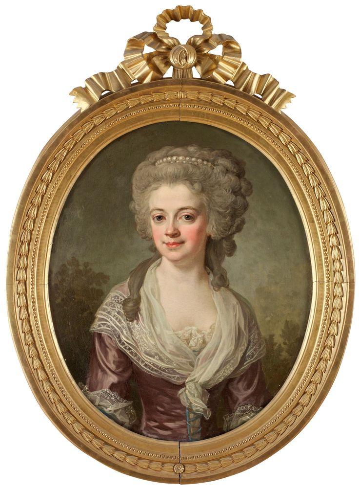 """Lorens Pasch d y 1733-1805 """"Hedvig Charlotta Görges"""" (gift Lorichs) (1757-1822).    Uppfodrad duk, oval 73 x 60 cm. Samtida gustaviansk ram med bandrosett."""