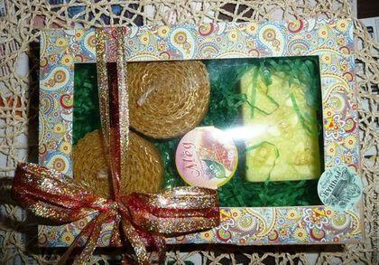 """Набор """"Медовый новый год"""" - жёлтый,подарок,подарочный набор,Свечи,мыло ручной работы"""
