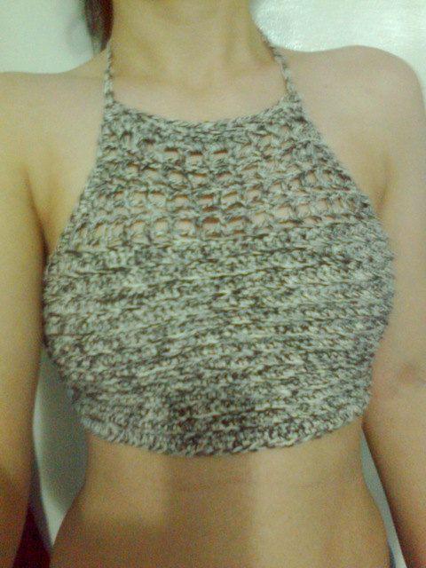 Crochet Crop Top Brown and Camel Crop Top by patiska on Etsy