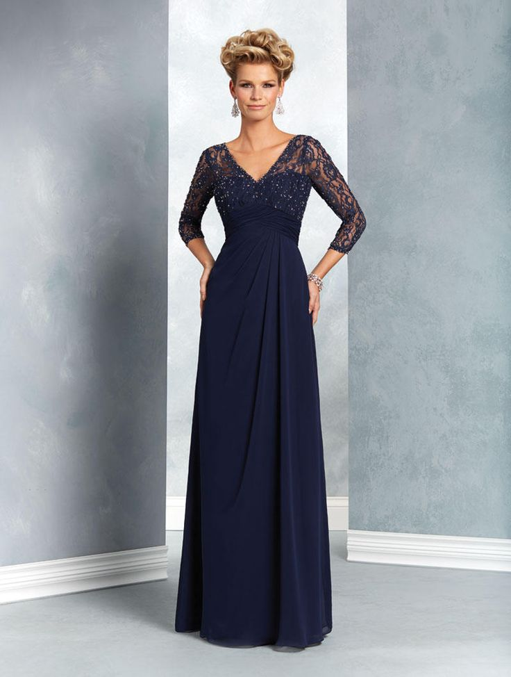 Alfred Angelo 9053 MOB Gown with Sheer Sleeves