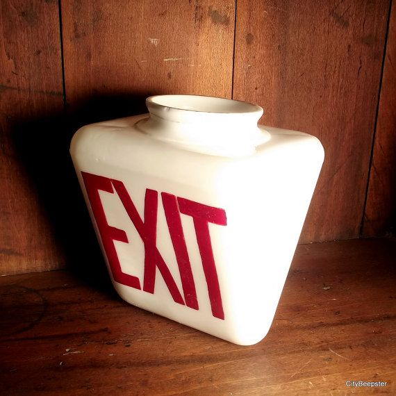 Vintage Milk Glass Exit Sign - Wedge Shape Globe - Double Sided - Art Deco - Industrial De... $79