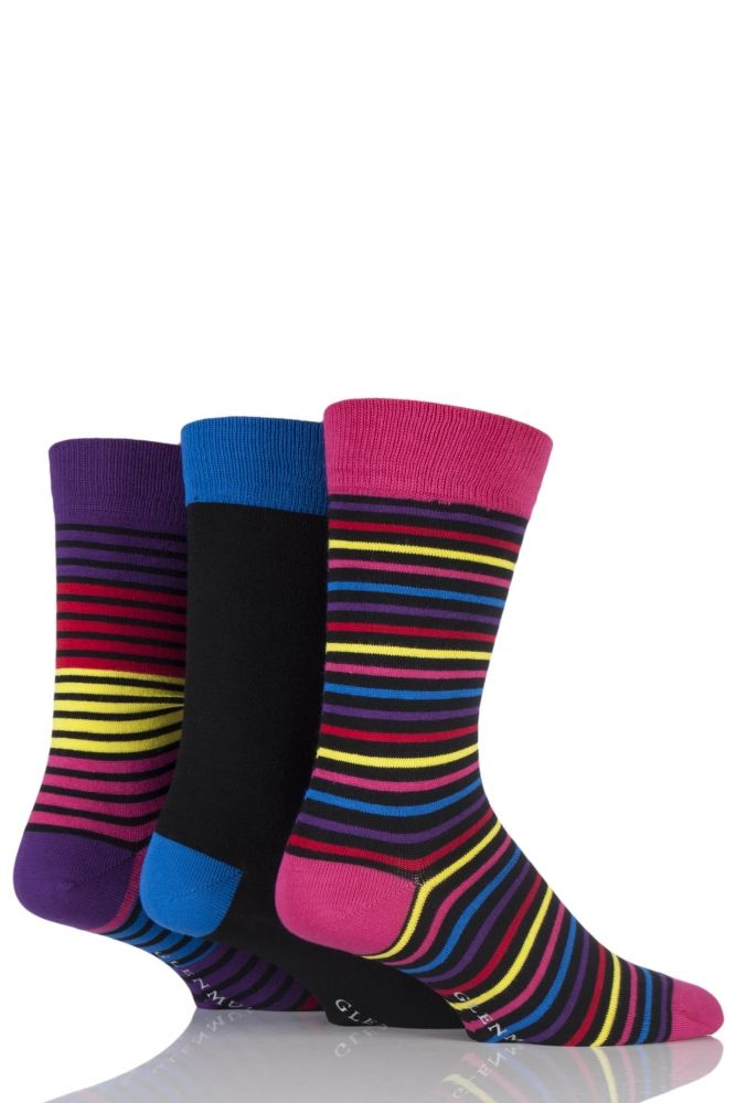 Mens 3 Pair Glenmuir Plain and Multi Coloured Narrow Striped Bamboo Socks £8.99