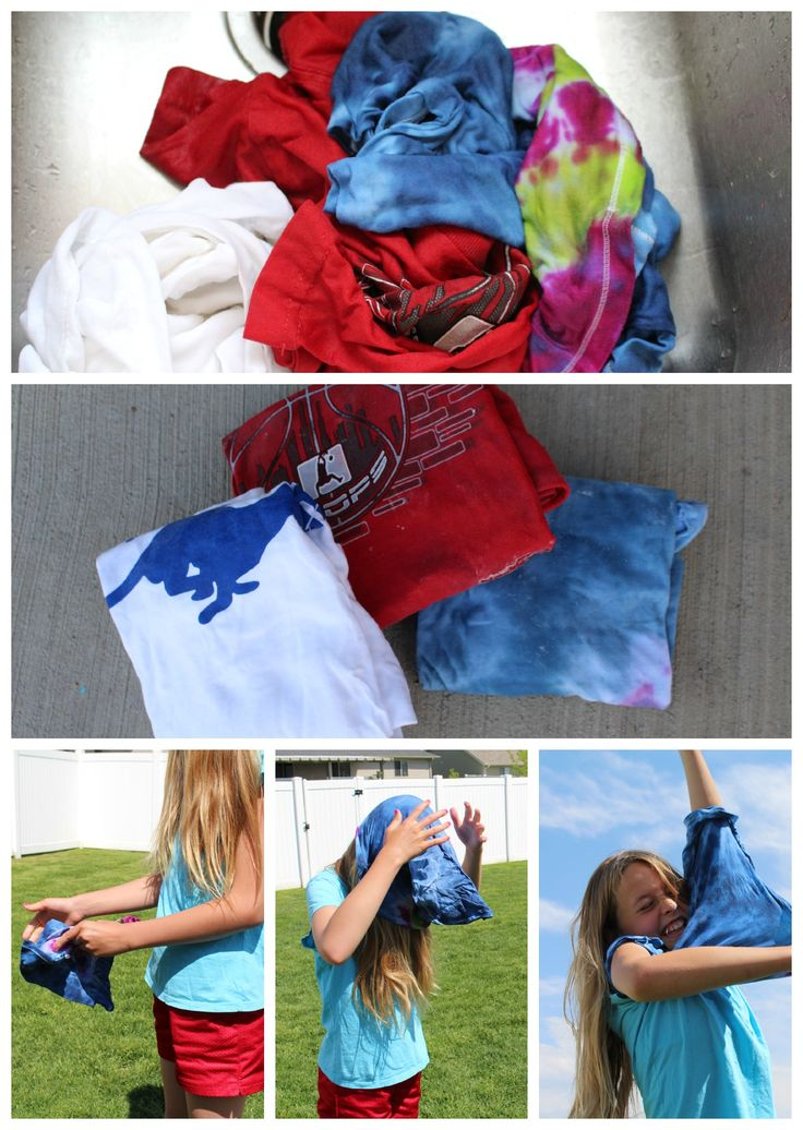 Frozen Tshirt race, place wet & folded tshirts in freezer in between wax paper. Who ever can unfold & put on wins