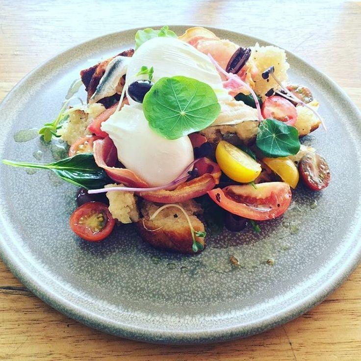 Back by popular demand 'Eggs Panzanella' slightly updated. Crispy pancetta. On the specials this week #merchantsguild #melbourne #melbournecafes #bentleigheast #foodporn #pancetta #eggs #brunch #breakfast #alldaybreakfast #olives #anchovies @merchantsguild