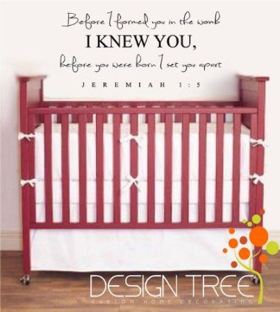 Amazon.com: BEFORE I FORMED YOU IN THE WOMB I KNEW YOU JEREMIAH 1:5 Vinyl wall quotes religious sayings scriptures home art decor decal MATTE BLACK: Home & Kitchen
