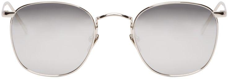 Linda Farrow Luxe: Lunettes de soleil carrées argentées | SSENSE