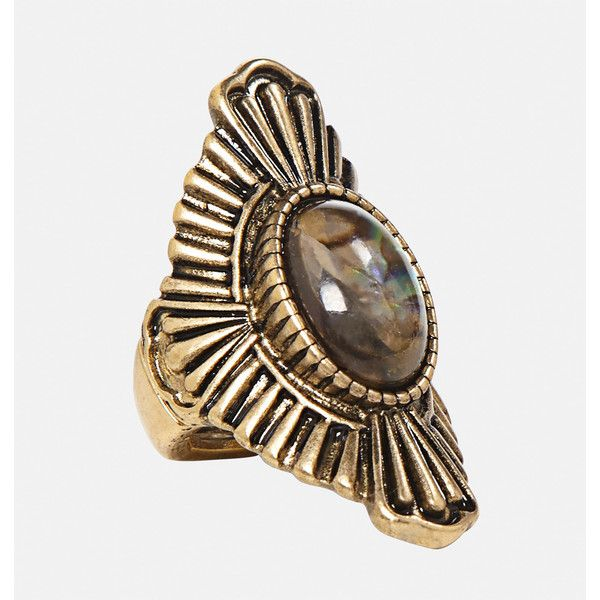Avenue Aztec Iridescent Stretch Ring (33 BRL) ❤ liked on Polyvore featuring jewelry, rings, gold, plus size, yellow gold rings, imitation jewelry, artificial jewellery, gold stretch ring and stretchy rings