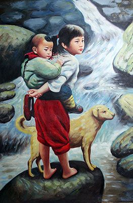 Chinese Girl Carrying Boy Cross River Handmade Oil Painting : http://www.chilture.com/chinese-girl-carrying-boy-cross-river-handmade-oil-painting-p-688.html