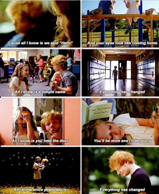 """THIS VIDEO IS LEGITIMATELY THE CUTEST THING EVER. Screen grabs from Taylor Swift's """"Everything Has Changed"""" featuring Ed Sheeran."""