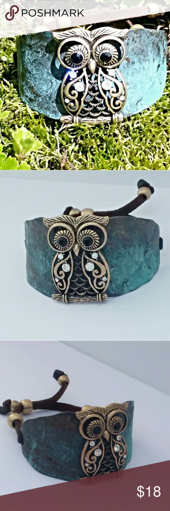 Owl Bracelet Very unique owl bracelet. Adjustable length. Slips over wrist with adjustable laces. Very comfortable Lady Adorned Boutique Jewelry Bracelets