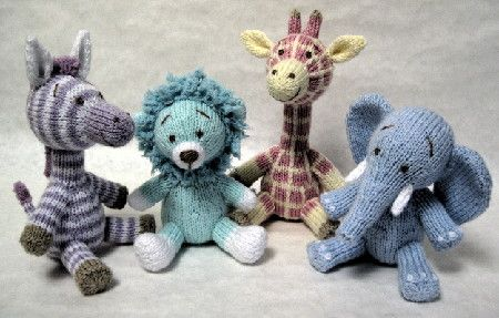 "Safari Sweeties, about 7"" tall using DK weight"