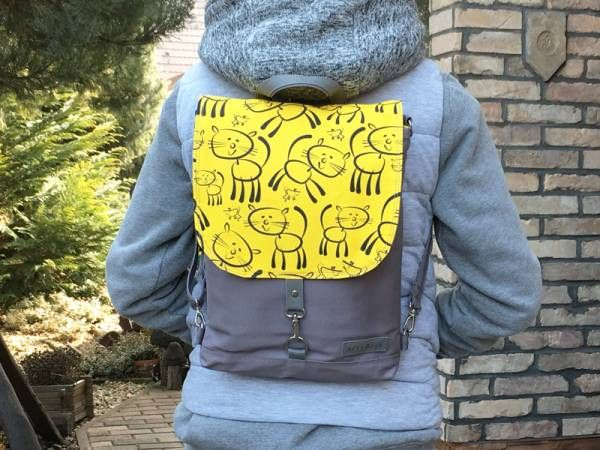 Grey and Yellow Hand Printed Canvas