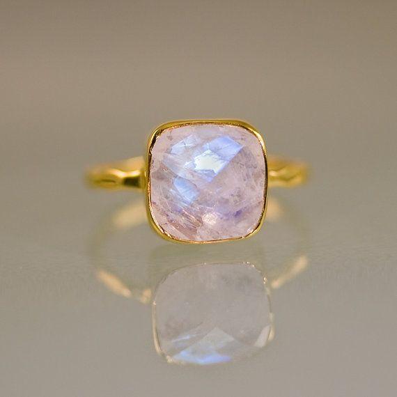 Rainbow Moonstone Ring - June Birthstone Ring - Gemstone Ring - Stacking Ring - Gold Ring- Cushion Cut Ring