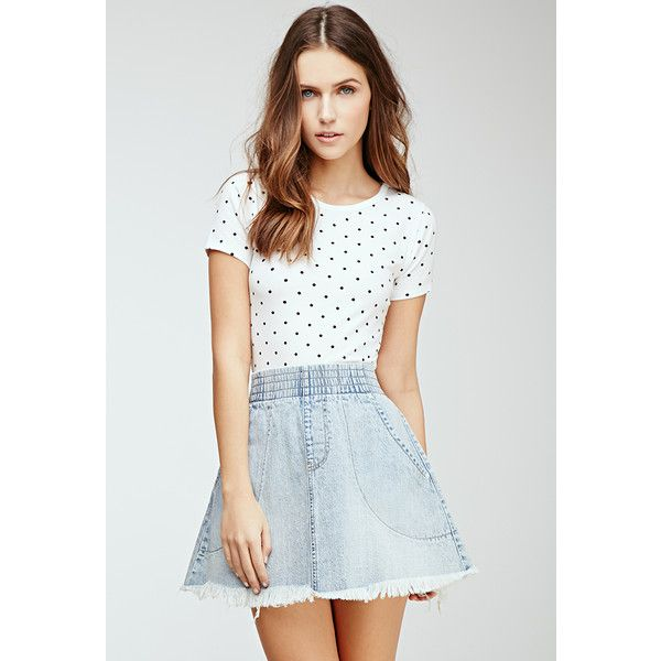 Forever 21 Women's  Polka Dot Tee (32 BRL) ❤ liked on Polyvore featuring tops, t-shirts, short sleeve tee, forever 21 tops, lightweight t shirts, polka dot t shirt and polka dot tops