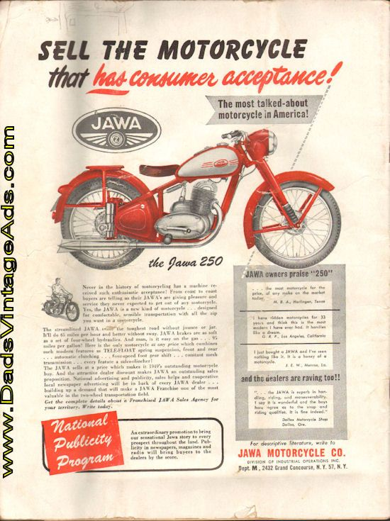 1949 Vintage Jawa 250 Motorcycle Franchise advertisement
