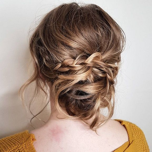 Boho Messy Bun Hairstyle Inspiration Braided Hairstyles Easy Updos For Medium Length Hair Braided Hairstyles