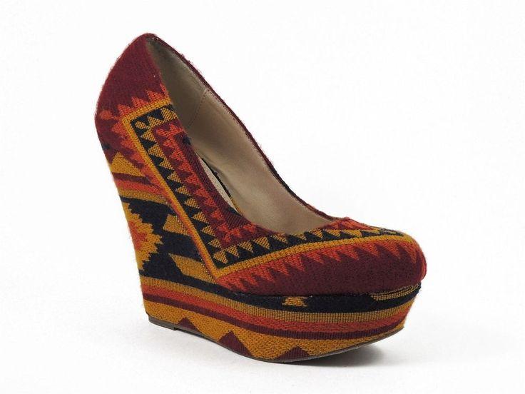 Steve Madden Women's Pammyy Platform Pumps Fabric Aztec Size 8 Medium (B, M) #SteveMadden #PlatformsWedges