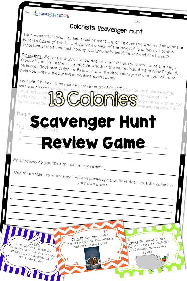 Thirteen Colonies Review Reinforce Learning Of The 13 Colonies With This Scaveng Social Studies Resources Upper Elementary Resources Social Studies Teacher [ 1104 x 736 Pixel ]