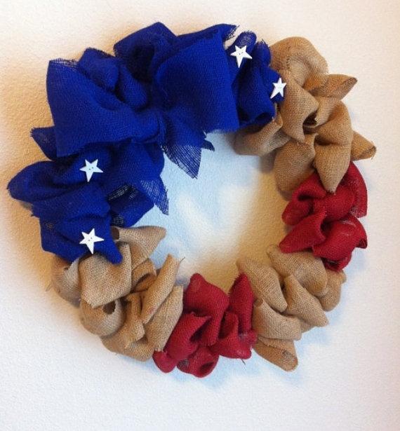 Rustic Burlap Wreath Patriotic 4th of July by ClaraJaneBoutique, $27.00