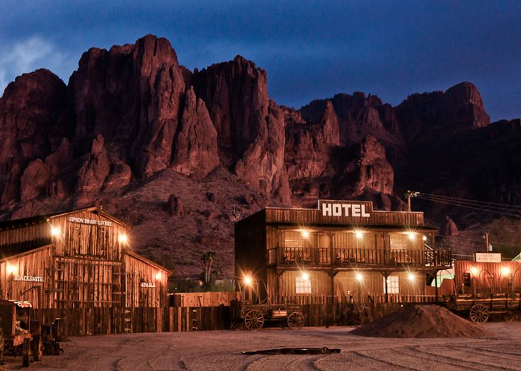 Goldfield Ghost Town in front of the Superstition Mountains, Apache Junction, Arizona