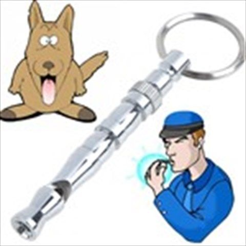 Silver Nickel-Plated Ultrasonic Whistle Pitch Adjustable Whistling Tube with Key Ring Dog Training Gadget -Medium Size