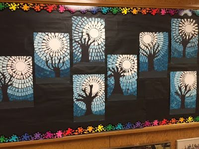 This was a fun art project my Grade 1 class did with their Grade 7 buddies.  The idea for this project came photos uploaded on Pinterest,  This project was completed over a couple of days.Day 1: We di