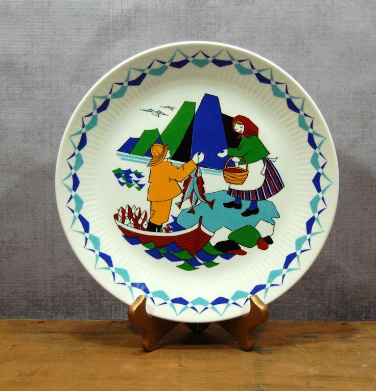 Figgjo Flint Torskefiske Plate Norway Fisherman by TheRecycleista, $32.00