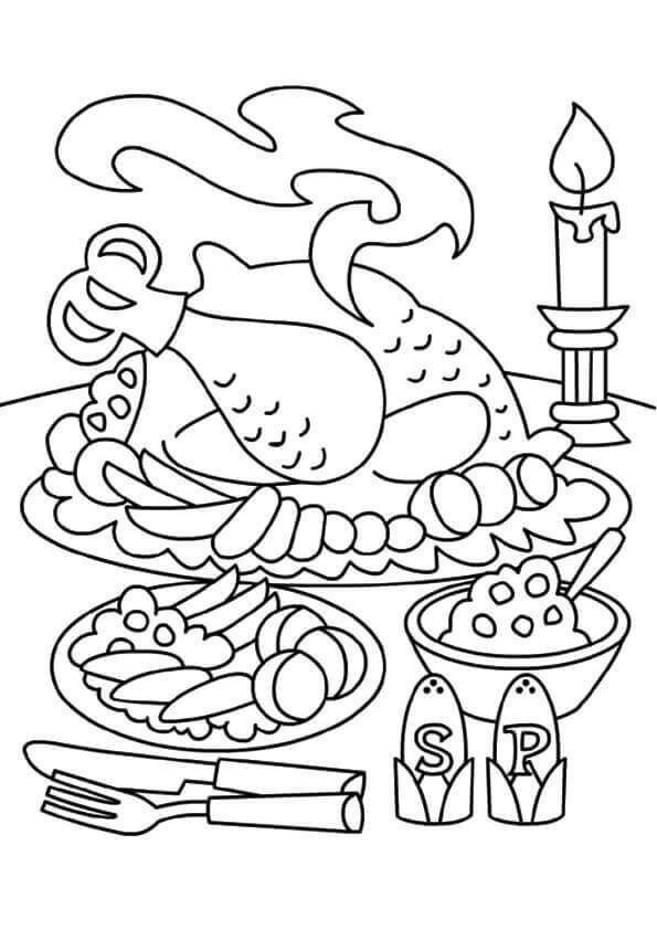 Turkey Dinner Coloring Page Youngandtae Com Thanksgiving Color Thanksgiving Coloring Pages Thanksgiving Coloring Sheets