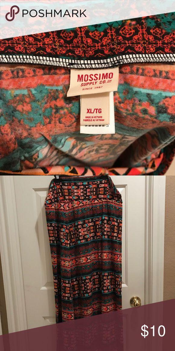 "Tribal maxi skirt Floor length boho tribal maxi skirt with fold over top.  41"" Long Mossimo Supply Co. Skirts Maxi"