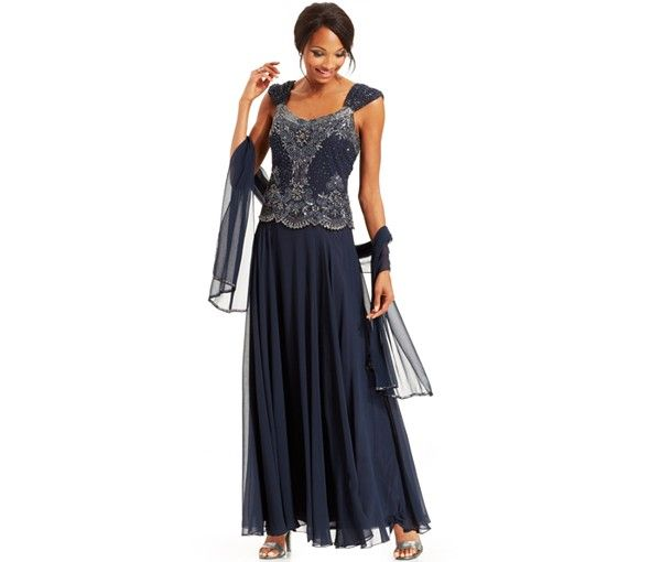J Kara Beaded Bodice Chiffon Gown and Shawl - Mother of the Bride - Women - Macy's