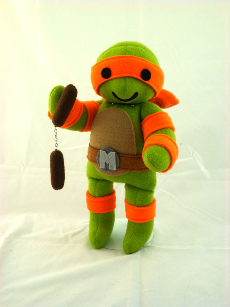 This cute little handmade Mikey is looking for some pizza! See more at www.handmadestuffs.com. #tmnt #teenage mutant ninja turtles