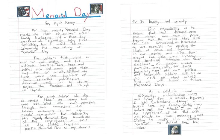 Memorial Day Essay for Kids, Paragraph about Memorial Day School ...