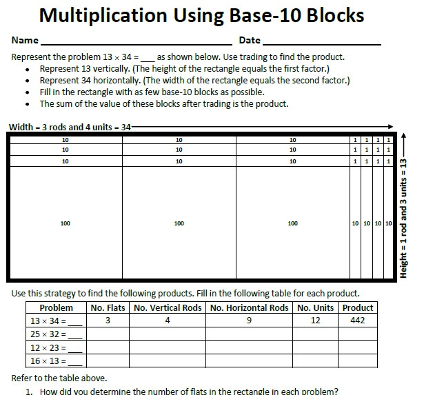 8 best Base Ten Blocks images on Pinterest Teaching math, 4th - horizontal multiplication facts worksheets