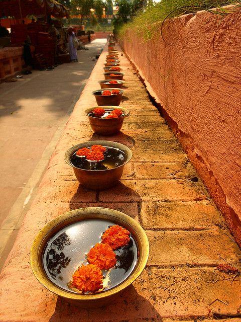 Prayer-bowls under the Bodhi-Tree, Bodhgaya, India