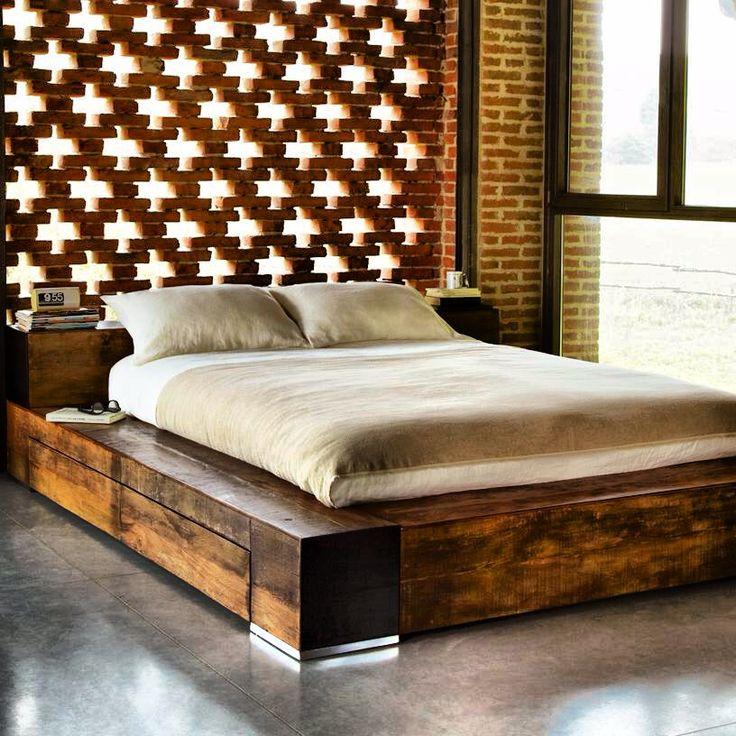 Environment Edge Bed Recycled Brazilian Peroba Rosa Wood