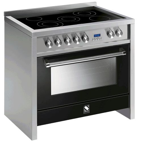 STEEL = Stile in Cucina - The PRIMO Range Cookers - Made in Italy.  Primo by Steel - 90cm Multi Function Upright Cooker with 5 Zone Induction Hob. Main Oven: 81lt Gross Capacity (70lt), Stainless Steel Control Panel with Metal Knobs, Dimensions: (W) 899mm x (D) 599mm x (H) 900mm, 3 Years Warranty