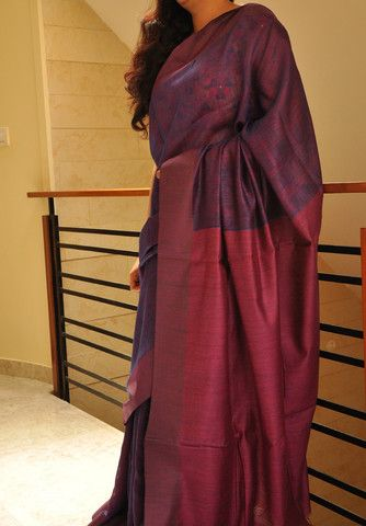 Purple reversable tussar Matka silks