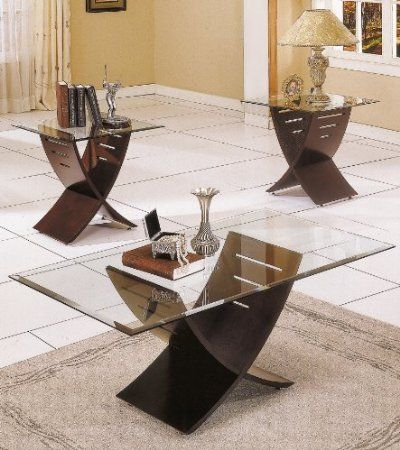 Amazon.com: Steve Silver Cafe 3-Pack Espresso Coffee Table and End Tables - 38 Best Images About Glass Coffee Tables On Pinterest Chrome