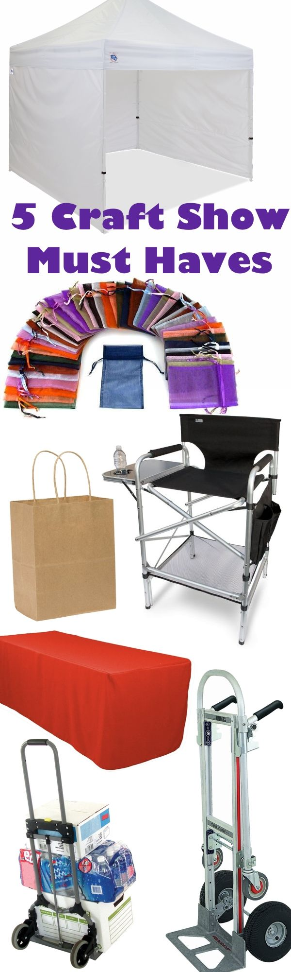 I've been doing my fair share of craft fairs for 10 years now, so I've learned a lot of tricks along the way. My craft show tool kit has evolved a lot over the years, and now there are a few handy items I can't live without. Here are my top 5 craft show must haves.