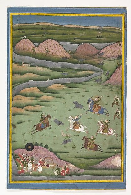 Maharana Amar Singh II or Sangram Singh Hunting Wild Boar, 19th century. Indian. The Metropolitan Museum of Art, New York. Gift of Charles and Carol E. Hamilton, 1983 (1983.513)