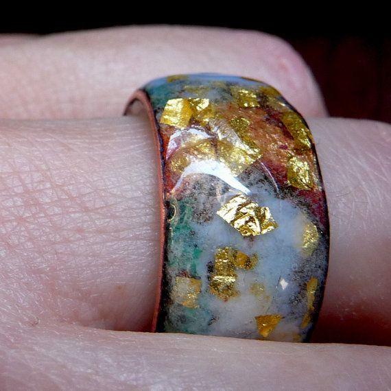 "Glossy Transparent Fired Enamel Ring on Copper with 24 kt Gold Inserts / Anell col. ""Aros"" / Anillo de Esmalte al fuego Brillante Transparente por MNesmalts"